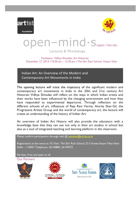 Open Minds, DELHI | Indian Art: An overview of the Modern and Contemporary art movements in India @ The Shri Ram School