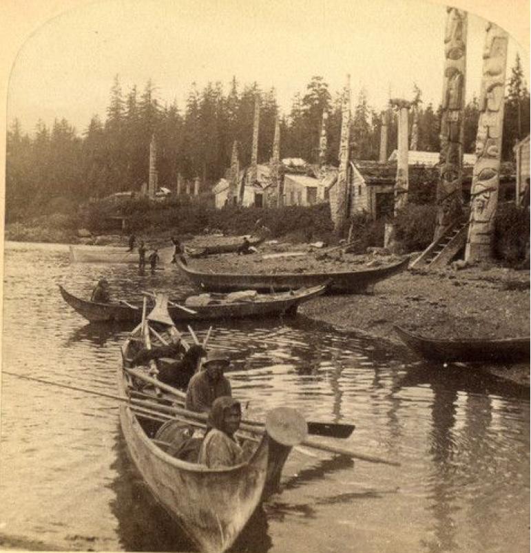 Historic totem poles and village Alaska