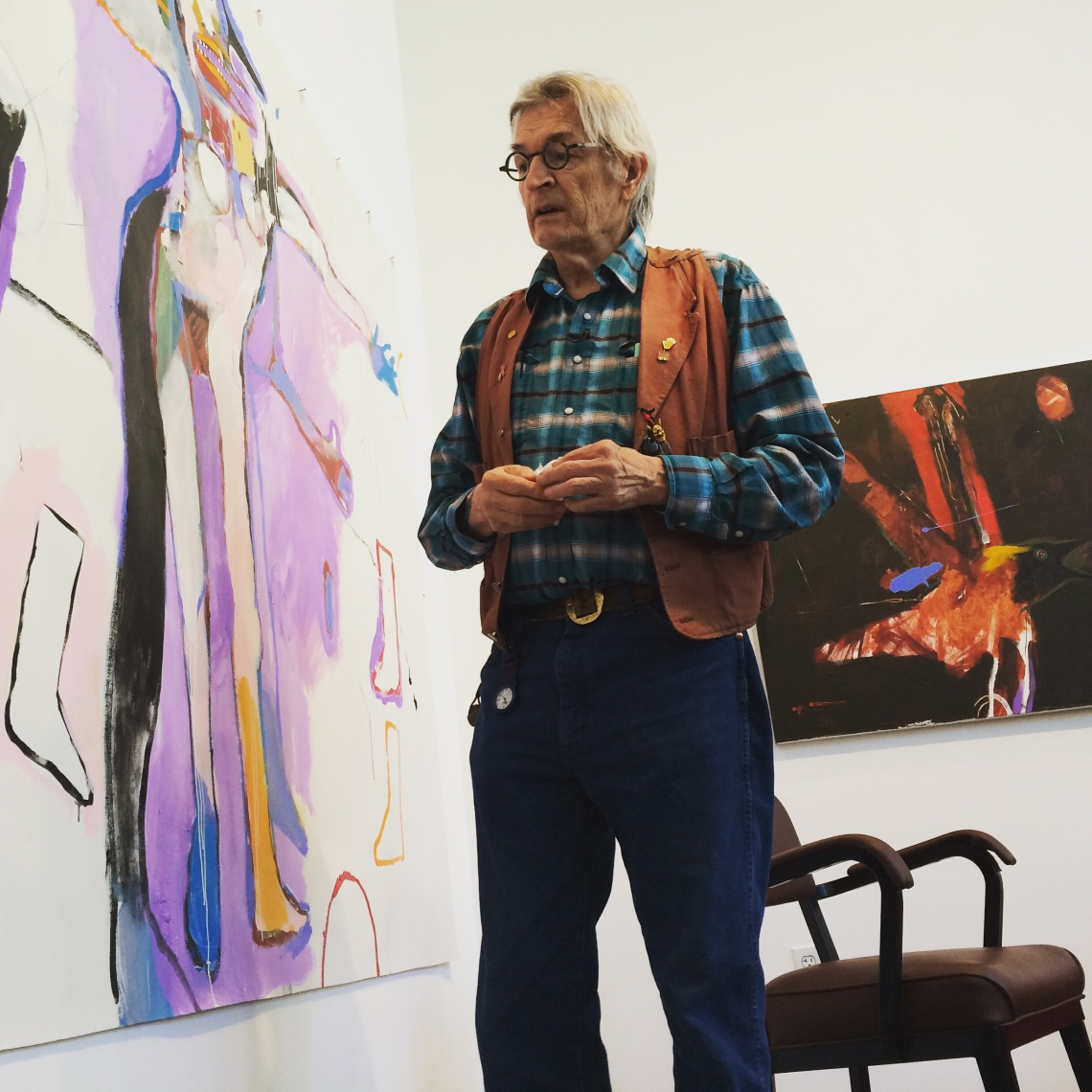 Rick_Bartow_with_his_paintings_at_Froelick_Gallery,_Portland,_Oregon