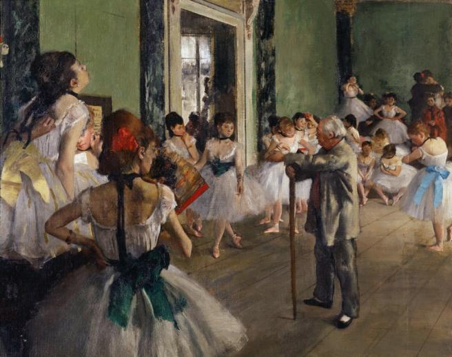 3FK-D17-V13-1 E.Degas, La classe de danse /1873-76/Det Degas, Edgar 1834-1917. 'La classe de danse', begonnen 1873, vollendet 1875/76. Ausschnitt. Oel auf Leinwand, 85 x 75 cm. R.F. 1976 Paris, Musee d'Orsay. E: E.Degas, La classe de danse /1873-76/Det Degas, Edgar 1834-1917. 'La classe de danse' (The dance class), begun 1873, completed 1875/76. Detail. Oil on canvas, 85 x 75cm. R.F. 1976 Paris, Musee d'Orsay.
